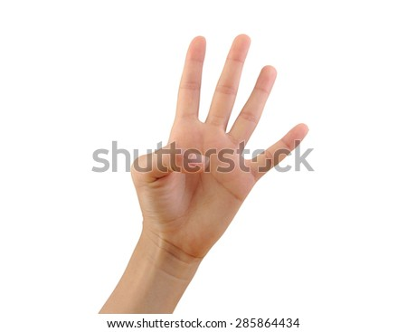 Girl hand showing three fingers isolated on white background. Number three  - stock photo