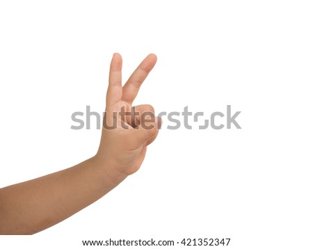 Girl hand showing two finger  on white background. Number two