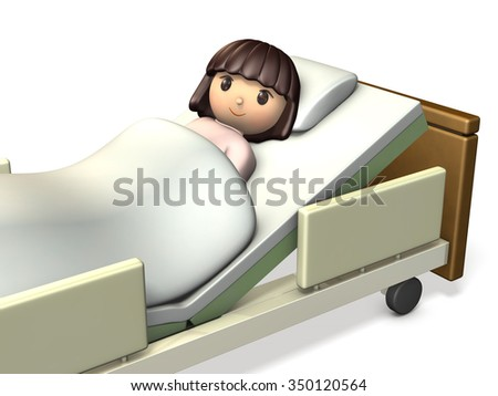 Girl has rested in bed. isolated,,computer,generated,image - stock photo