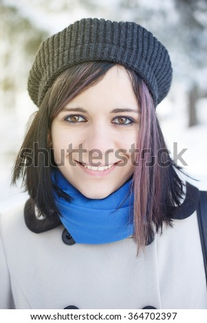 Girl, hat, snow, smiling