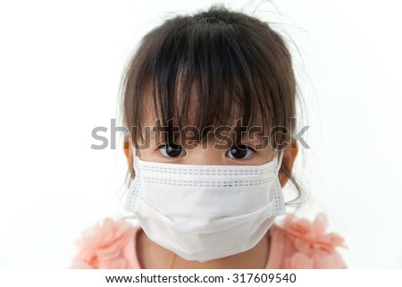 Girl have a fever and wear protection mask on white background