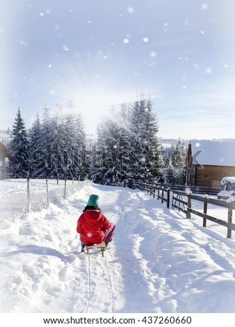 girl having fun in winter, winter holiday - stock photo