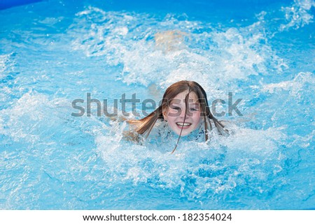 girl having fun inside the pool