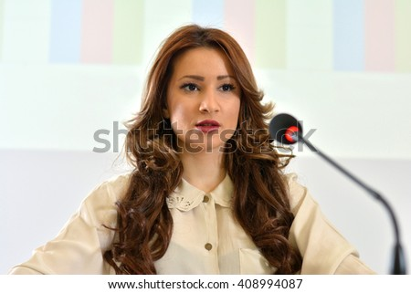 Girl having public speech.