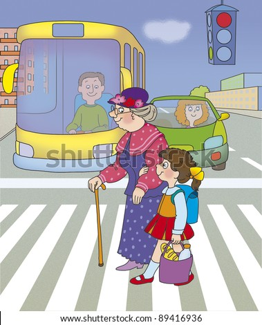 girl helps her grandmother cross the street on a green traffic light - stock photo