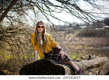 girl hippie on nature background