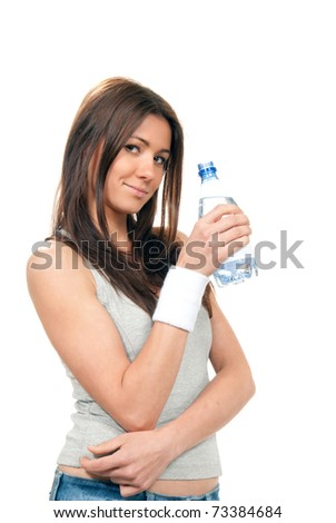 Girl hold bottle of pure still drinking water nutrition facts. Female holding in hand sparkling mineral bottled water isolated on a white background
