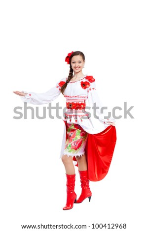 girl hold welcome hand gesture in ukrainian polish national traditional costume clothes happy smile, full length woman hold open palm empty copy space, isolated over white background