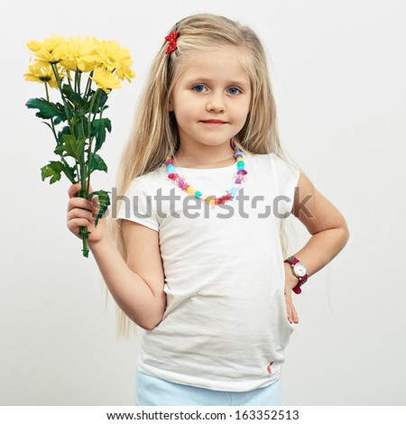 Girl hold yellow flowers. Isolated portrait.