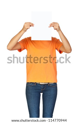 Girl Holding a Blank Paper in front of her Face - stock photo