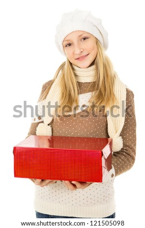 girl holding a gift box - stock photo