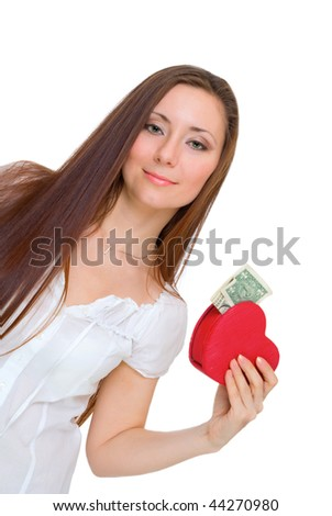 girl holding a heart with money isolated on white - stock photo