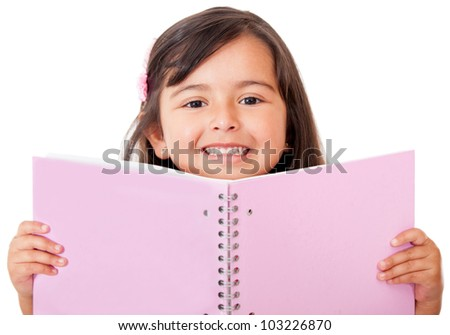 Girl holding a notebook isolated over white - education portraits - stock photo