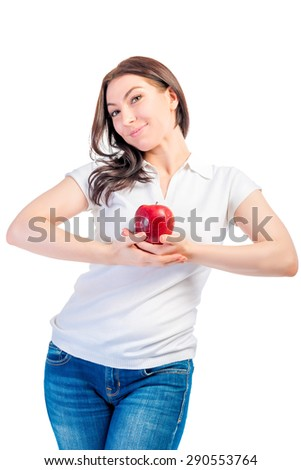girl holding a ripe apple isolated - stock photo