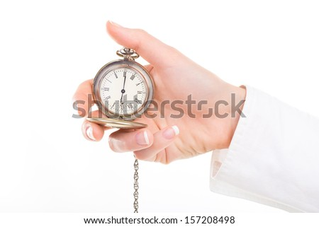 Girl holding a stopwatch (pedometer), isolated on white - stock photo