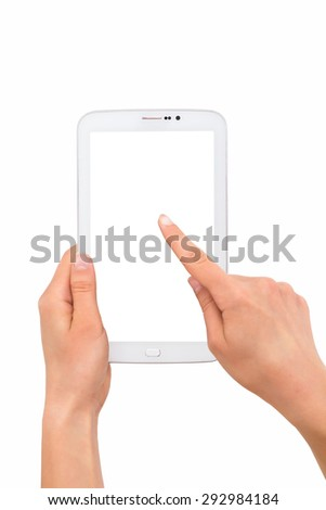 Girl holding a tablet in hand, pc with white screen, isolated - stock photo