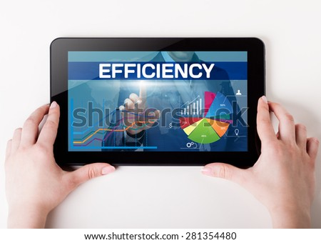 Girl holding a tablet pc which a man presses the virtual screen with text efficiency. Technology, business, internet, concept. - stock photo