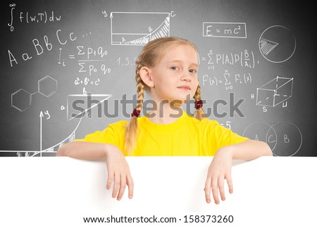 girl holding a white banner. place for text - stock photo