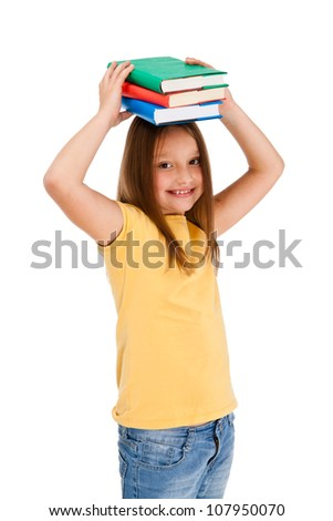 Girl holding books isolated on white background - stock photo