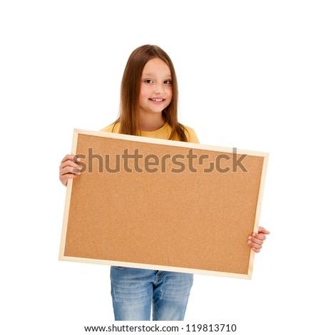 Girl holding noticeboard isolated on white background - stock photo