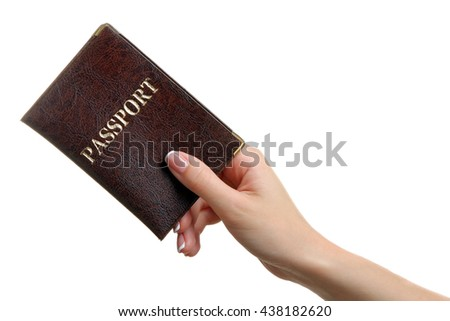 girl holding passport in hand on a white isolated background