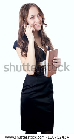 girl holding the phone isolated - stock photo