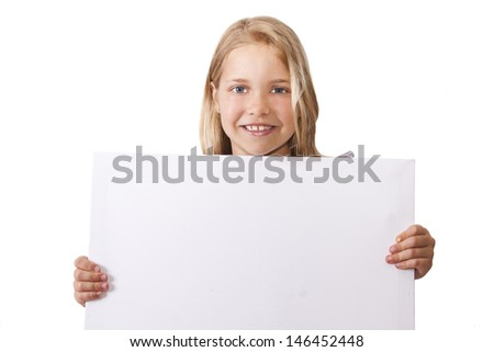 girl holding the sign with blank space - stock photo