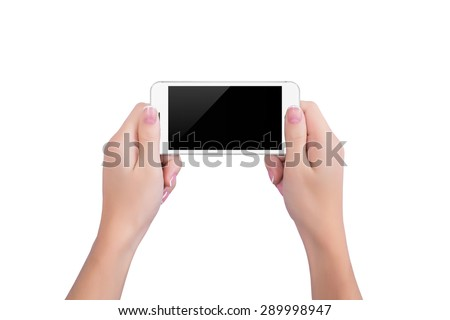 Girl holding the white phone