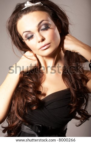 Girl Holding two Braids - stock photo
