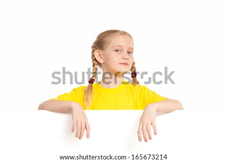 Girl holding white poster, space for text