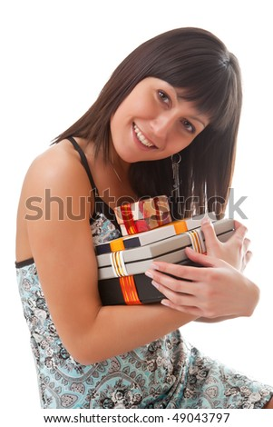 Girl holds many gifts in a hands