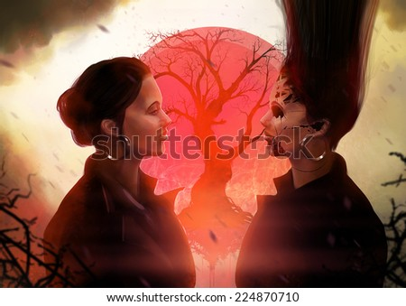 Girl horror. Abstract spooky woman profile looking at evil tween art illustration. - stock photo