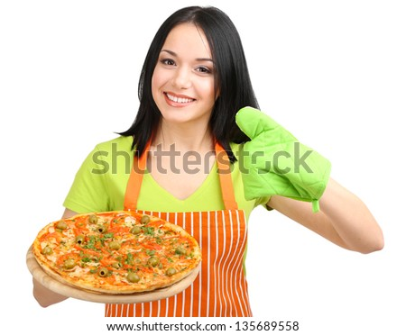 Girl housewife with delicious pizza isolated on white - stock photo