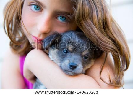 girl hug a little puppy dog gray hairy chihuahua doggy - stock photo