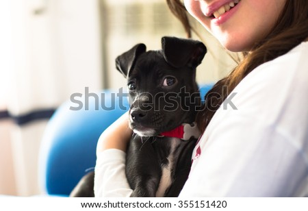 Girl hugging his friend his small dog - stock photo