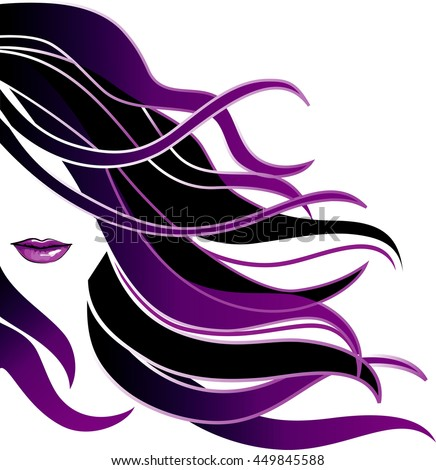 Girl icon. Beautiful young girl with wind in long colored hair. Raster version. - stock photo