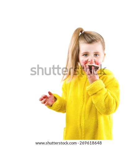 girl in a bathrobe eating cake all seized - stock photo