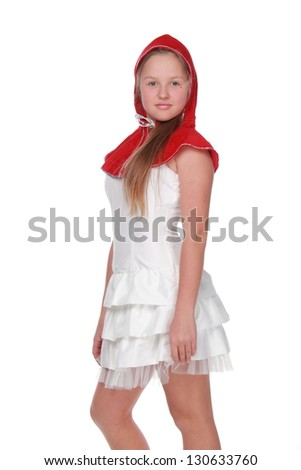 Girl in a beautiful white dress and red hat - Little Red Riding Hood costume