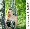 girl in a birch grove - stock photo