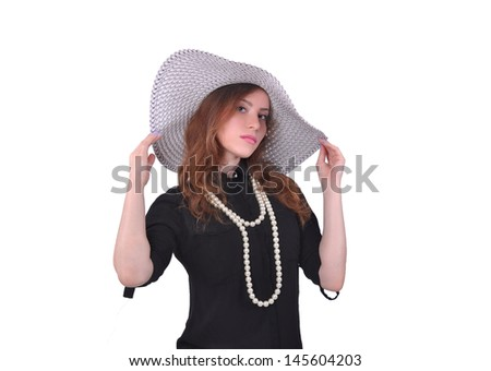 girl in a black dress and a white hat, fashion
