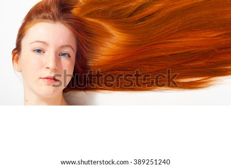 girl in a black dress, red-haired girl - stock photo