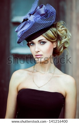 Girl in a blue hat retro