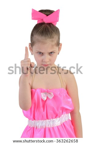girl in a bright dress face finger - stock photo