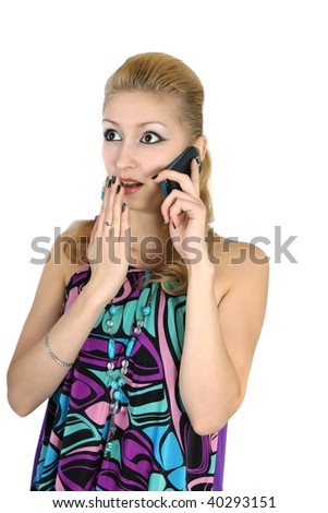 girl in a bright dress with a phone