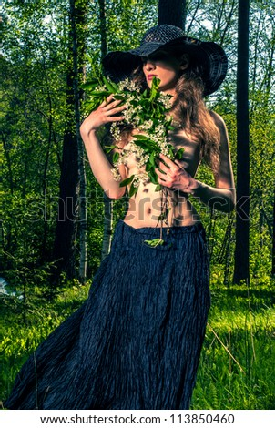 girl in a country fashion style - stock photo