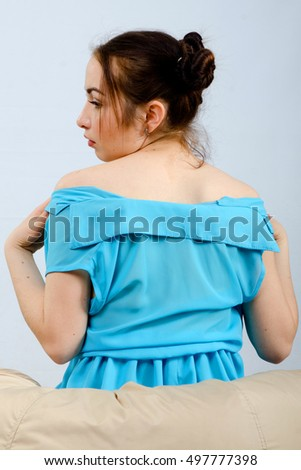 girl in a dress in the poof