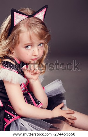 girl in a dress with cat ears