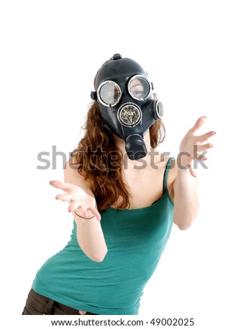 Girl in a gas mask. - stock photo