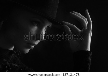 girl in a hat on a dark background