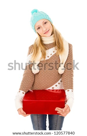 girl in a hat with a gift worth - stock photo